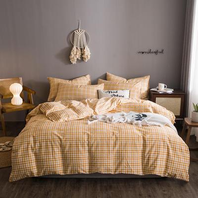 2020文艺风格子系列全棉四件套 1.2m床单款三件套 橘小格