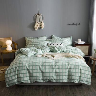 2020文艺风格子系列全棉四件套 1.2m床单款三件套 绿大格