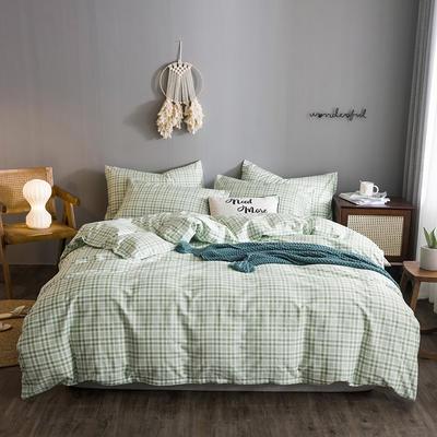 2020文艺风格子系列全棉四件套 1.2m床单款三件套 浅绿条纹