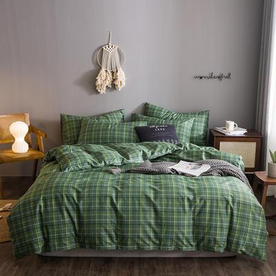2020文艺风格子系列全棉四件套 1.2m床单款三件套 深绿大格