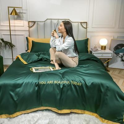 2020新款水洗真丝刺绣款四件套 1.2m床单款三件套 翠绿
