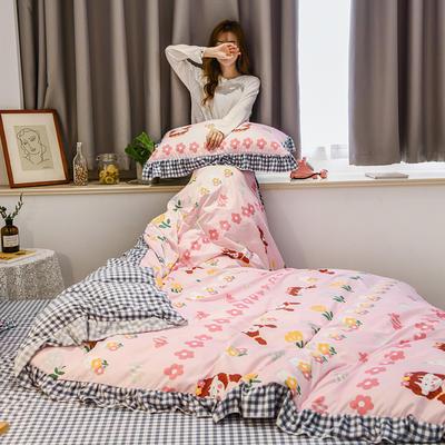 2020秋冬新款韩版水晶绒小清新四件套 1.8m床单款四件套 花期少女