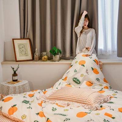 2020秋冬新款韩版水晶绒小清新四件套 1.8m床单款四件套 香橙世界