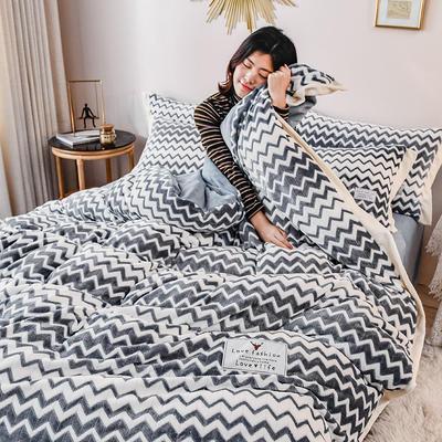 2020冬款牛奶绒波浪纹四件套 1.8m床单款四件套 瓷器蓝