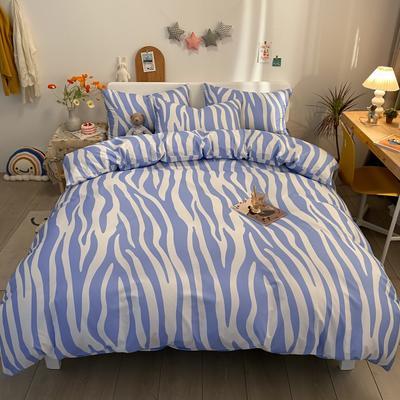 2021新款40s全棉印花卡通可爱少女风四件套 1.5m床单款四件套 斑马纹蓝