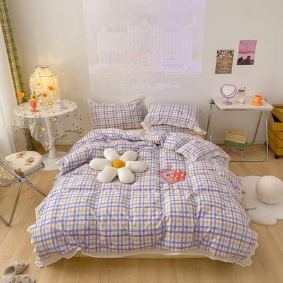 2021新款糖果全棉水洗棉工艺款四件套 1.8m床单款四件套 糖果格-紫