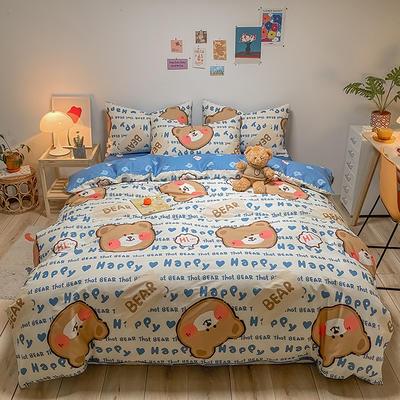 2021新款40s全棉印花卡通可爱少女风四件套 1.5m床单款四件套 蓝色小熊