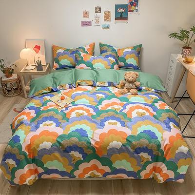 2021新款40s全棉印花卡通可爱少女风四件套 1.5m床单款四件套 彩虹小熊