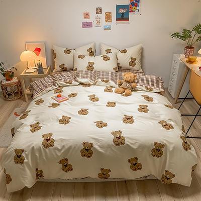 2021新款40s全棉印花卡通可爱少女风四件套 1.5m床单款四件套 棕色小熊