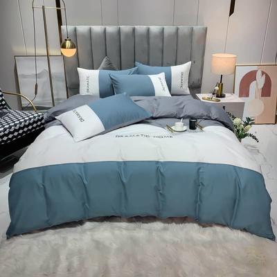 2021新款家居三拼全棉刺绣四件套 1.5床单款四件套 三拼蓝白
