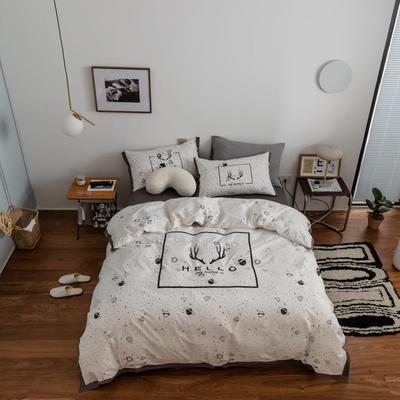 2021新款家居北欧工艺款四件套 1.8m床单款四件套 麋鹿