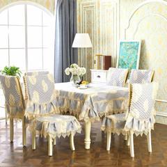 2018新款-中式桌布餐椅垫 椅垫 相思叶-灰