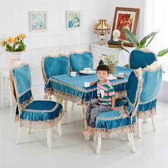 2018新款-荷兰绒餐椅垫 桌布110*160cm(包含花边尺寸) 前程似锦-蓝-欧式