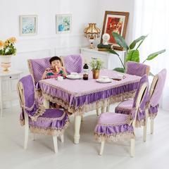 2018新款-荷兰绒餐椅垫 桌布150*200cm(包含花边尺寸) 前程似锦-紫-中式