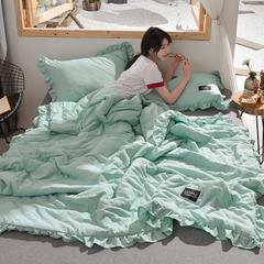 2019新款水洗棉夏被(花边款) 枕套/对 绿色