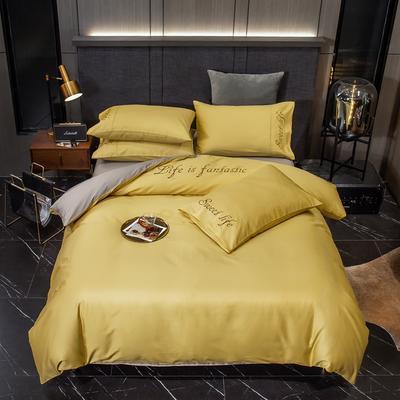 2020新款60S长绒棉贡缎刺绣四件套 1.5m床单款四件套 奥斯丁黄-银石灰