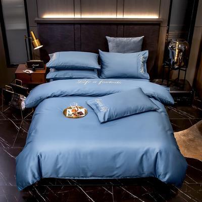 2020新款60S长绒棉贡缎刺绣四件套 1.5m床单款四件套 宾利蓝
