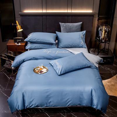 2020新款60S长绒棉贡缎刺绣四件套 1.5m床单款四件套 宾利蓝-银石灰
