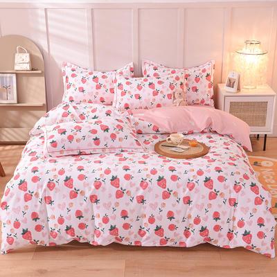 新款全棉生态磨毛四件套网销图(天猫风) 1.2m床单款四件套 草莓甜心