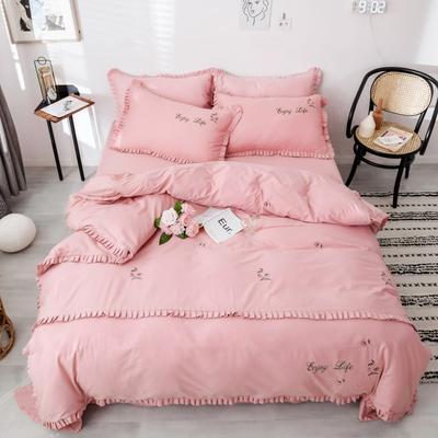 2019新款喷气13372绣花 1.8m(6英尺)床 小樱桃-粉色