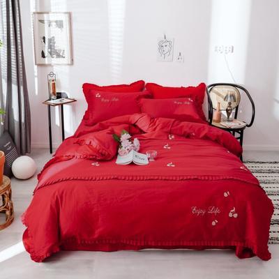 2019新款喷气13372绣花 1.8m(6英尺)床 小樱桃-红色