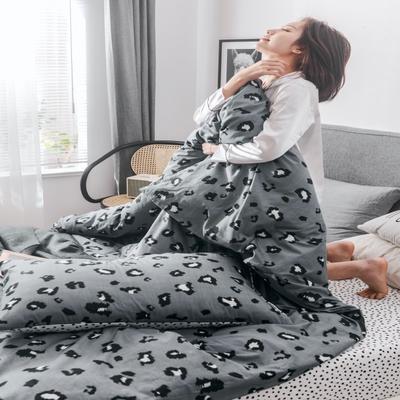 2019新款全棉小清新四件套 1.2m(4英尺)床 豹纹灰