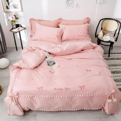 2019新款-长绒棉绣花四件套 1.8m(6英尺)床 梦娜-粉色