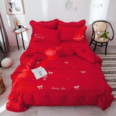 2019新款-长绒棉绣花四件套 1.8m(6英尺)床 梦娜-红色