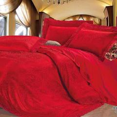 2018新款-60婚庆提花浮雕蕾丝四件套 1.5m(5英尺)床 生肖守护神-红