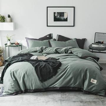 2018新品全棉色布拼角四件套 1.2m(4英尺)床三件套 简爱-抹茶绿