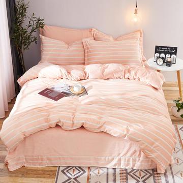 2018新款水晶绒印花四件套 1.2m(4英尺)床三件套 白玉条纹