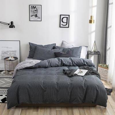 2019新款13070全棉印花四件套 1.2m(4英尺)床 黑色格调
