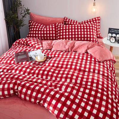 2019新款无印风水晶绒印花四件套 1.8m(6英尺)床单款 红白大格
