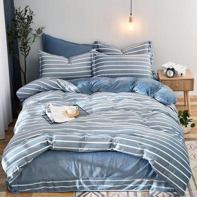 2019新款无印风水晶绒印花四件套 1.8m(6英尺)床单款 蓝白条纹