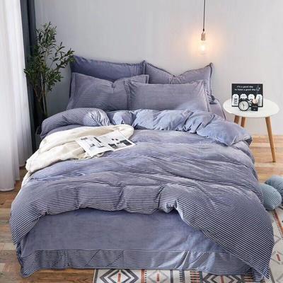 2019新款无印风水晶绒印花四件套 1.8m(6英尺)床单款 蓝白细条