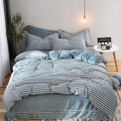 2019新款无印风水晶绒印花四件套 1.8m(6英尺)床单款 蓝白小格