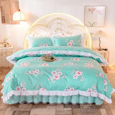 2020新款韩版13372全棉四件套 1.5m床裙款三件套 浪漫约会兰