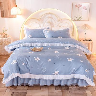 2020新款韩版13372全棉四件套 1.5m床裙款三件套 星空蓝