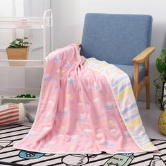 2018新款-六层纱布盖毯 105*110cm 小猪佩奇-粉