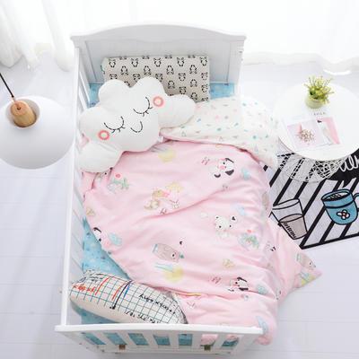2019新品全棉双层纱布单被套 双层纱布单被套 童话乐园-粉白