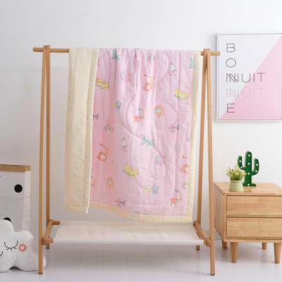 2019新品全棉双层纱布夏被 双层纱布夏被丝棉款150x120cm 动物乐园-粉