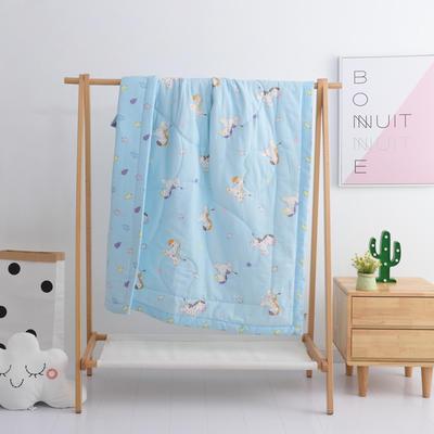 2019新品全棉双层纱布夏被 双层纱布夏被丝棉款150x120cm 欢乐时光-蓝