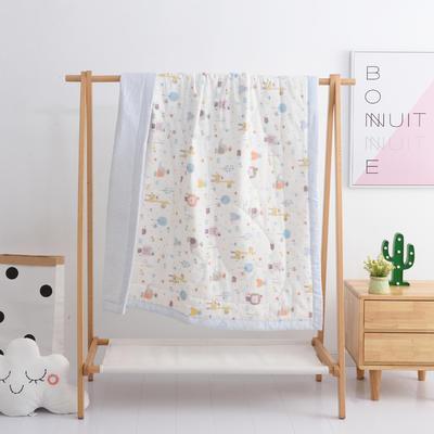 2019新品全棉双层纱布夏被 双层纱布夏被丝棉款150x120cm 森林伙伴-米