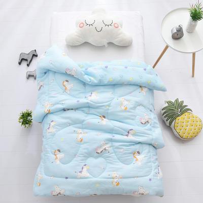 2019年A類全棉紗布冬被被子被芯 120*150cm 1.3斤夏被 歡樂時光-藍