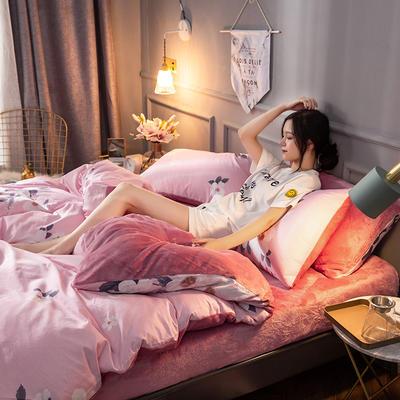 2018逸色家居棉加绒四件套 法莱绒 水晶绒 宝宝绒 1.8m床(床单款) 粉色花香