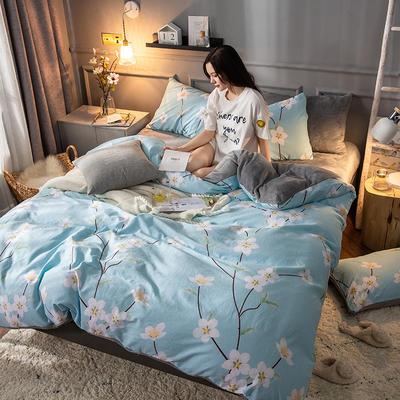 2018逸色家居棉加绒四件套 法莱绒 水晶绒 宝宝绒 1.8m床(床单款) 花开朵朵