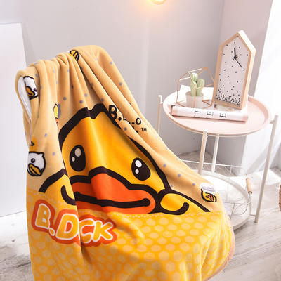 2018新款逸色双层童毯云毯 100cmx140cm 小黄鸭