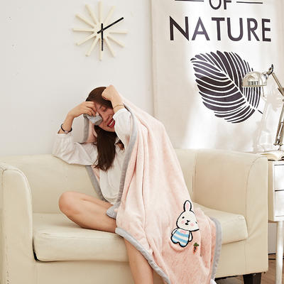 2019新款法兰绒纯色毛毯 空调毯 办公室午睡毯 休闲盖毯子 100cmX140cm 萝卜兔-粉
