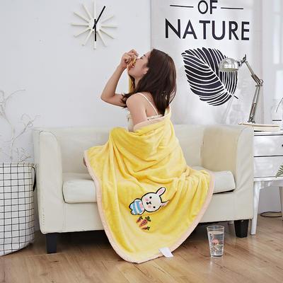 2019新款法兰绒纯色毛毯 空调毯 办公室午睡毯 休闲盖毯子 100cmX140cm 萝卜兔-黄
