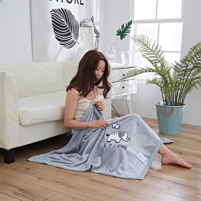 2019新款法兰绒纯色毛毯 空调毯 办公室午睡毯 休闲盖毯子 75cmX100cm 小象-灰